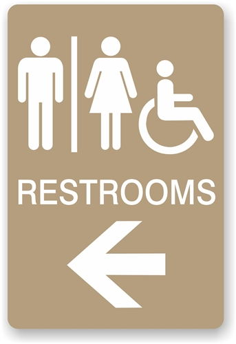 restroom directional sign. Directional Restroom Sign ADA Braille Signs