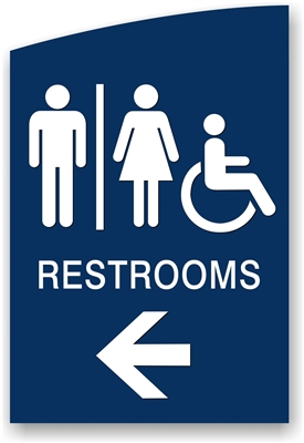 Directional Restroom Sign with Arrow