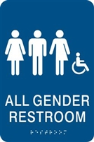 All Gender ADA Braille Restroom Sign
