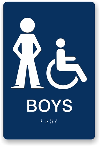 Boys Restroom Sign With Braille ADA Compliant Bathroom Signs - Ada compliant bathroom signs