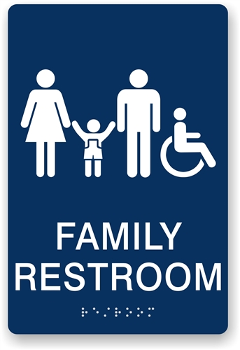 Ada Bathroom Signage braille family restroom sign