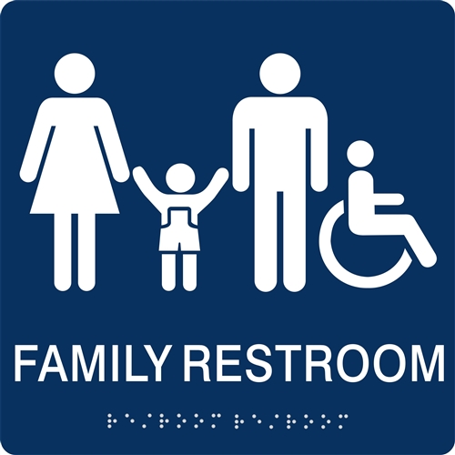 Family Restroom Braille Sign. Family Restroom Braille Sign to meet ADA requirements for tactile