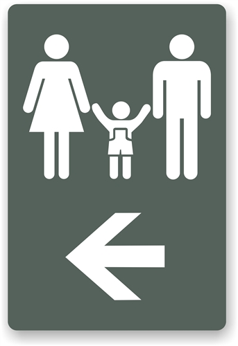 Directional Restroom Sign - Bathroom directional signs