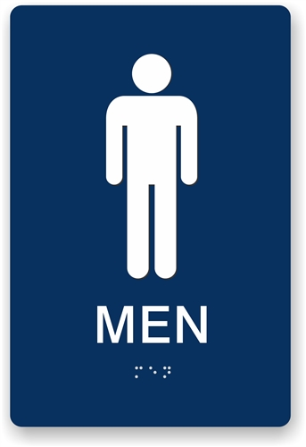 braille men's restroom sign