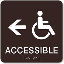Handicap Accessible Directional Braille Sign
