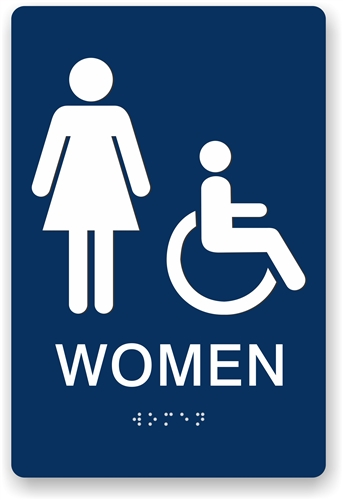 Ada Bathroom Signage braille women's restroom sign