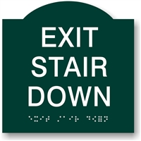 EXIT Stair Down Braille Sign