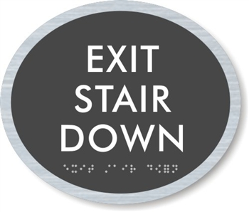 Exit Stair Down ADA Braille Sign