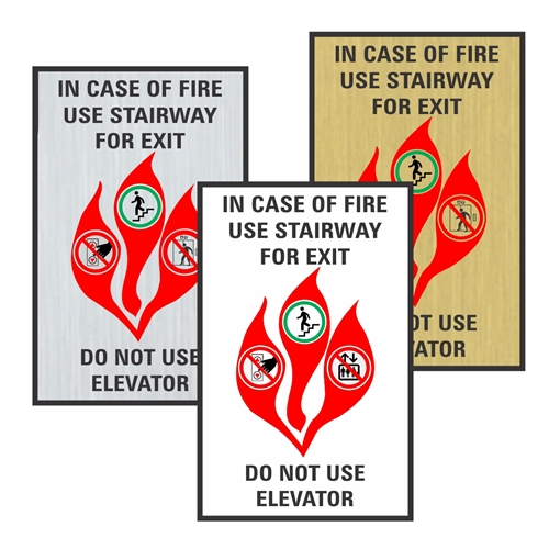 Elevator In Case of Fire Sign