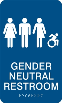 Gender Neutral ADA Braille Restroom Sign