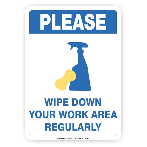 Wipe and Clean Safety Sign