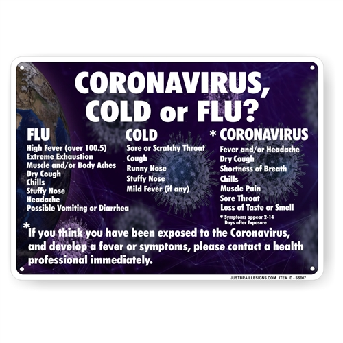 Virus Symptom Warning Safety Sign