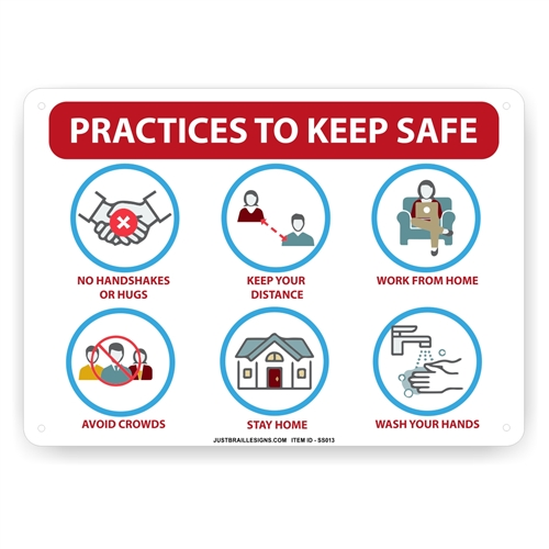 Practices to Keep Safe From Virus Sign