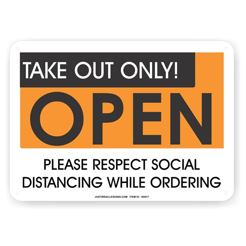 Take Out Only Social Distancing Sign