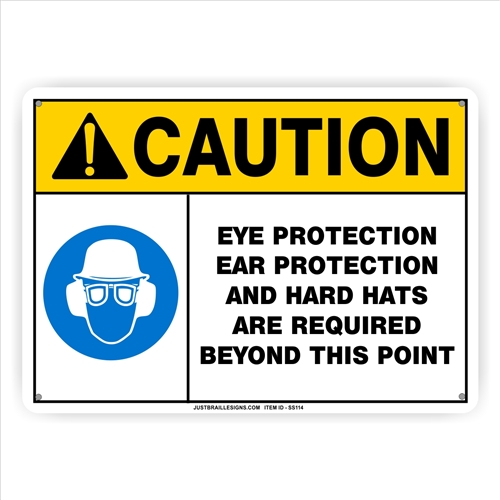 Eye Ear & Head Protection Safety Sign