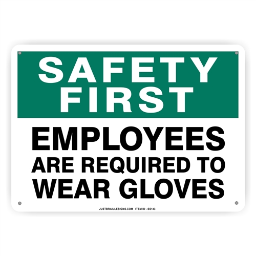 Gloves Required for Employees Safety Sign