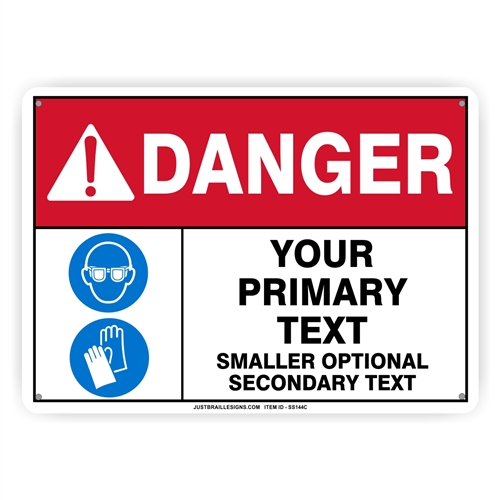 Custom Hand  & Eye Protection Safety Sign