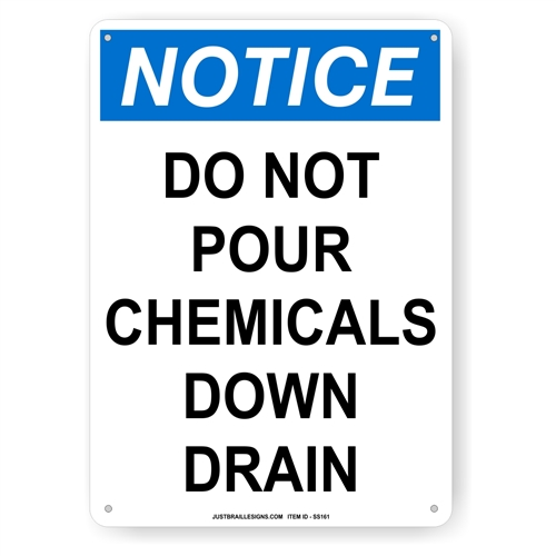 DO NOT Pour Chemicals Safety Sign