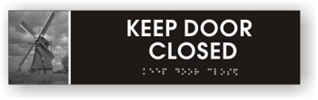 Keep Door Closed Braille Sign