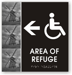 Area of Refuge Directional Braille Sign
