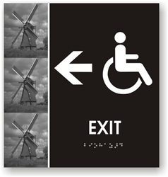 Handicap Exit Directional Braille Sign