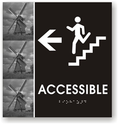 Stair Accessible Directional Braille Sign