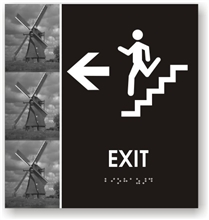 Stair Exit Directional Braille Sign