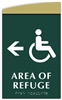 Braille Area of Refuge Directional Sign