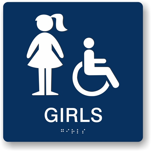 girl s restroom braille sign to meet ada requirements for tactile signs