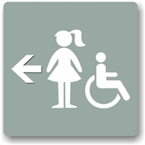 Girl's Directional Restroom Sign