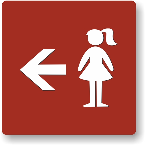 girl s directional restroom sign to meet ada requirements for
