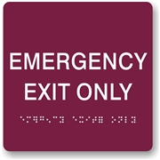 EMERGENCY EXIT Closed Braille Sign