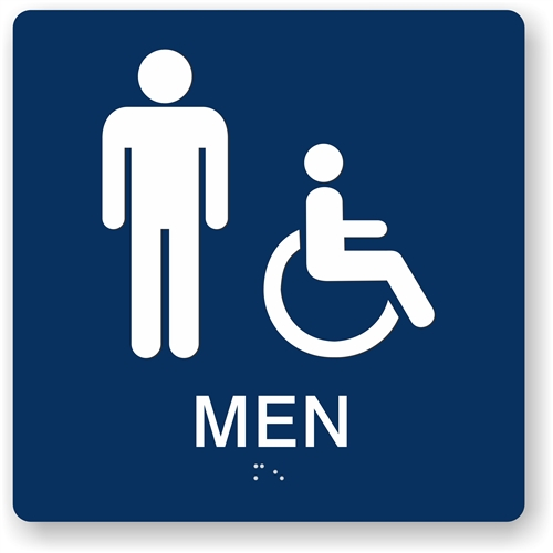 ADA Mens Bathroom Sign Male Handicap Restroom Sign - Male bathroom sign