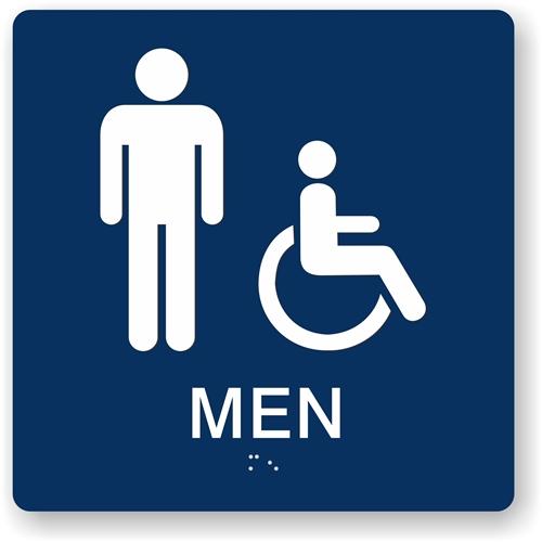 Accessible Men S Restroom Ada Braille Sign 8x8