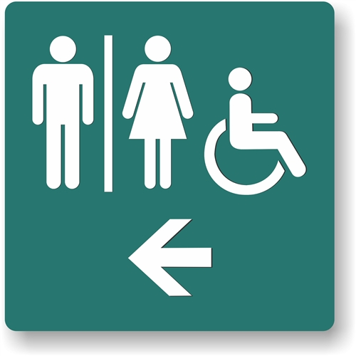 restroom directional sign. Alternative Views: Restroom Directional Sign M