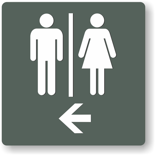 restroom directional sign. Alternative Views: Restroom Directional Sign S