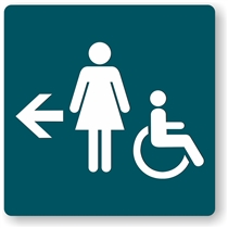 Women's Directional Restroom Sign