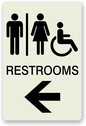 Bathroom Signs With Arrows directional restroom sign