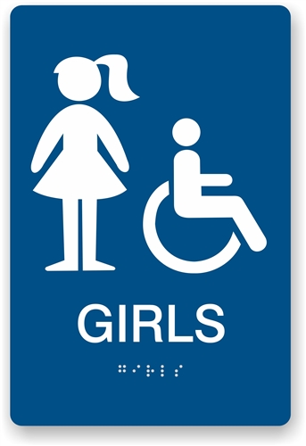 ada braille girls restroom sign restroom sign for girls - Girl Bathroom Sign