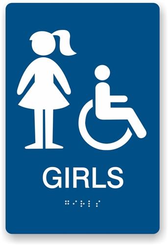 Ada Braille Girl S Restroom Sign Restroom Sign For Girls
