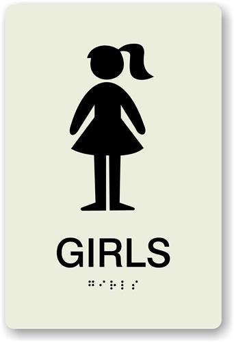 girls restroom sign with braille ada bathroom door sign