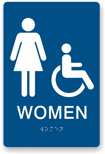 ada braille womens restroom sign ada compliant sign - Womens Bathroom