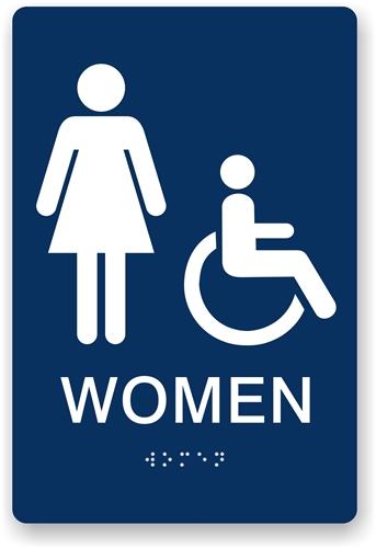 ada braille women's restroom sign