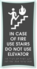 Braille In Case of Fire Elevator Sign