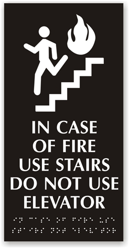 in case of fire use stairs sign fire elevator signage