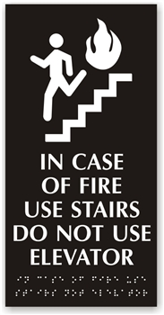 In Case of Fire Braille Sign