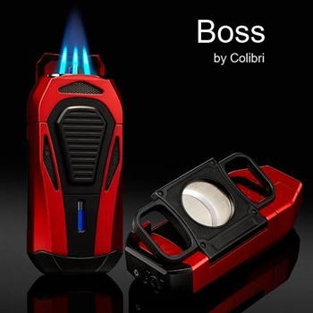 Colibri Boss Lighters - Triple-jet Flames with Double Guillotine Cigar Cutter