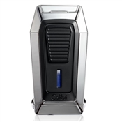 Colibri Quantum Lighter Polished Chrome + Black, Triple-jet Flame Built-in V-Cut