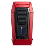 Colibri Quantum Lighter, Red + Black, Triple-jet Flame Built-in V-Cut