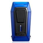 Colibri Quantum Lighter Blue + Black, Triple-jet Flame Built-in V-Cut